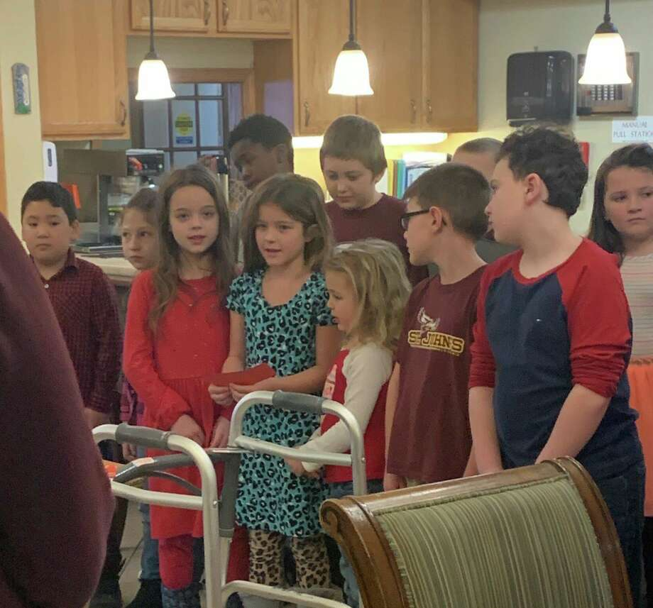 St. John's Lutheran School students sang to residents at Independence Village and Brookdale Assisted Living on Thursday, Feb. 13. (Photo provided)