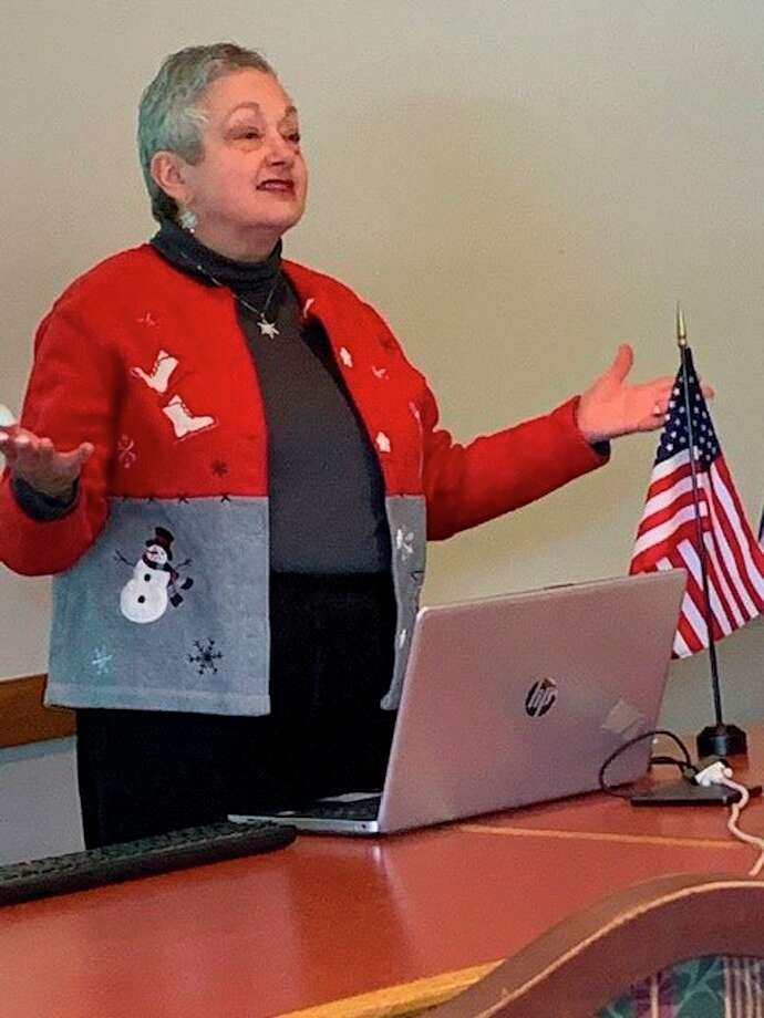 Donna Frawley speaks at the John Alden Chapter, Daughters of the American Revolution's February meeting. (Photo provided)