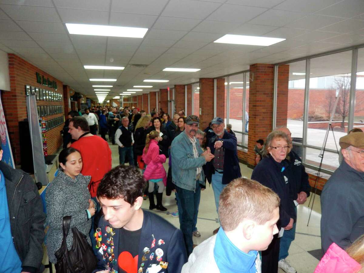 Attendees wait at Dow High School to enter the 2017 Pancake Supper. (Photo courtesy of Tawny Ryan Nelb)