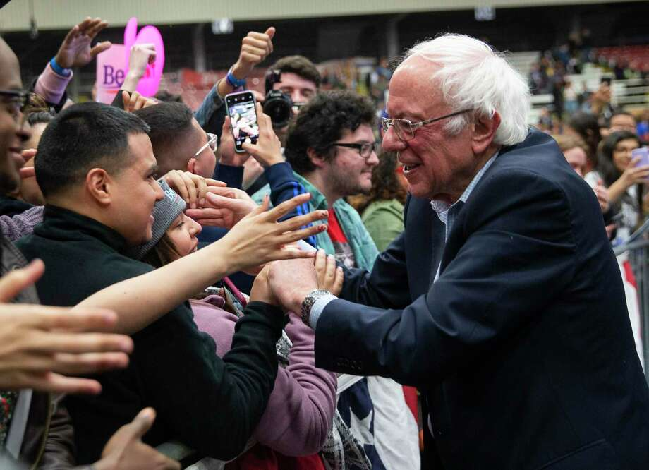 Democratic presidential candidate U.S. Sen. Bernie Sanders, I-Vt., greets supporters during a rally at the Mesquite Arena Feb. 14 in Mesquite, Texas. Photo: Juan Figueroa / Associated Press / © 2020 Juan Figueroa / The Dallas Morning News