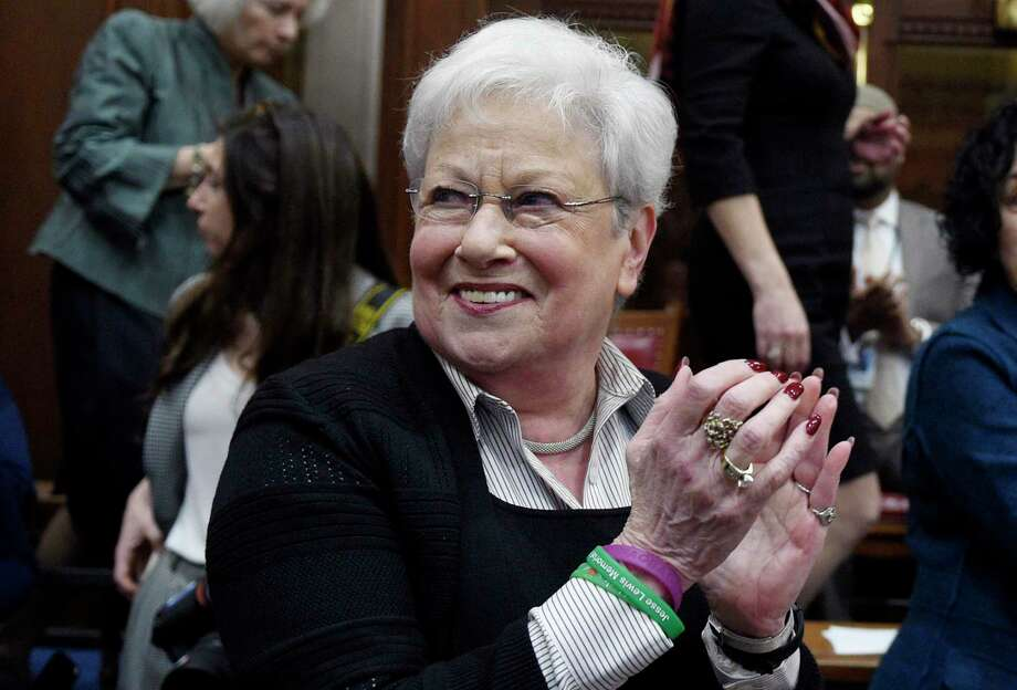 Former Lt. Gov. Nancy Wyman claps during opening session at the State Capitol, Wednesday, Feb. 5, 2020, in Hartford, Conn. (AP Photo/Jessica Hill) Photo: Jessica Hill / Associated Press / Copyright 2020 The Associated Press. All rights reserved.