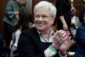 Former Lt. Gov. Nancy Wyman claps during opening session at the State Capitol, Wednesday, Feb. 5, 2020, in Hartford, Conn. (AP Photo/Jessica Hill)