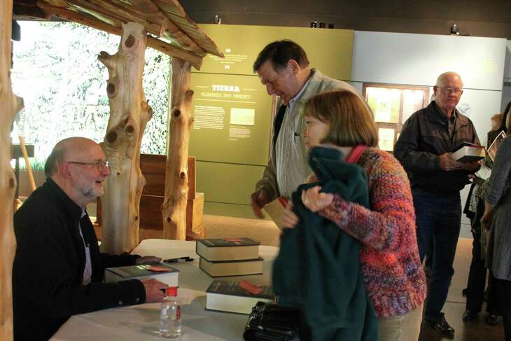 """Stephen Harrigan, author of """"Big Wonderful Thing: A History of Texas,"""" at the San Felipe de Austin Historic Site recently."""
