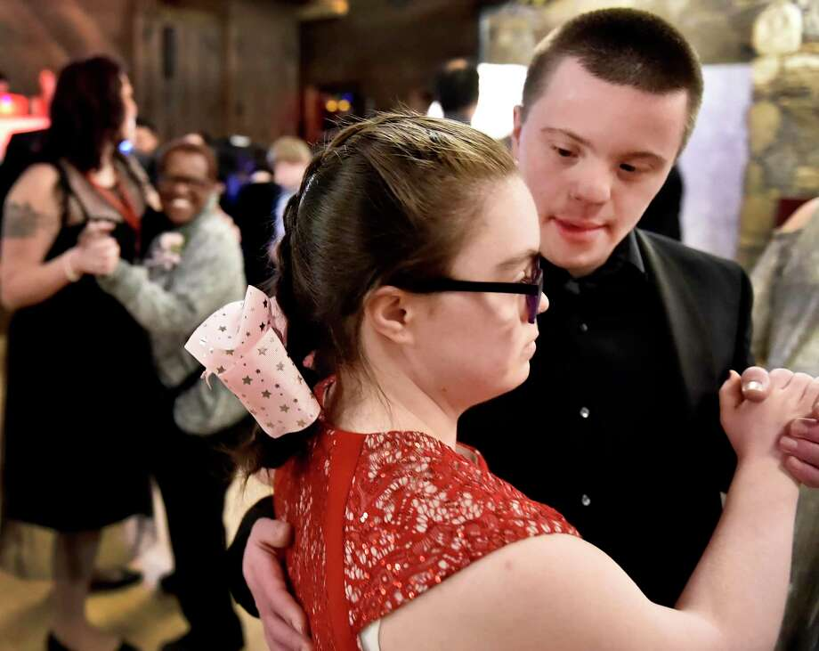 "The ""Night to Shine,"" a prom night style event Friday evening for 95 people with special needs, ages 14 and above, with 95 ""buddies,"" 175 volunteers and 80 parents and caregivers at Bill Miller's Castle in North Branford and sponsored by Shoreline Community Church of Branford through the Tim Tebow Foundation. The Shoreline Community Church event was one of 655 churches around the world the also held a ""Night to Shine"" event. Photo: Peter Hvizdak / Hearst Connecticut Media / New Haven Register"