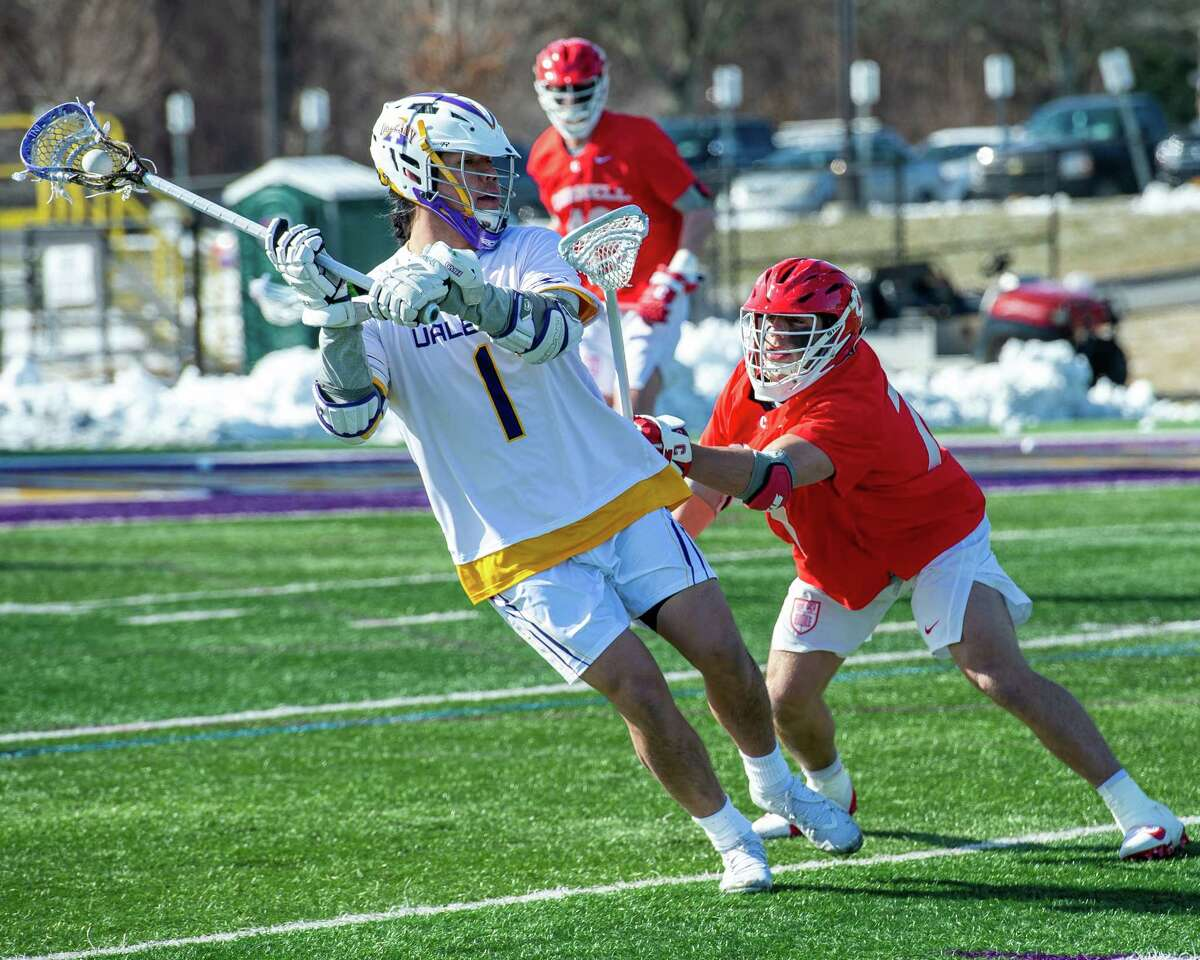 UAlbany junior Tehoka Nanticoke takes a shot in front of Cornell University sophomore Gavin Adler during the season opener at UAlbany on Saturday, Feb. 15, 2020 (Jim Franco/Special to the Times Union.)
