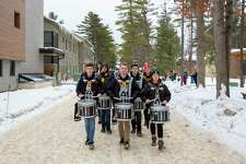 The Traverse City Central High School Drum Line led children in a parade to Corson Auditorium, where a free performance of the Arts Academy Dance Company's The Sleeping Beauty was performed. (Courtesy Photo)