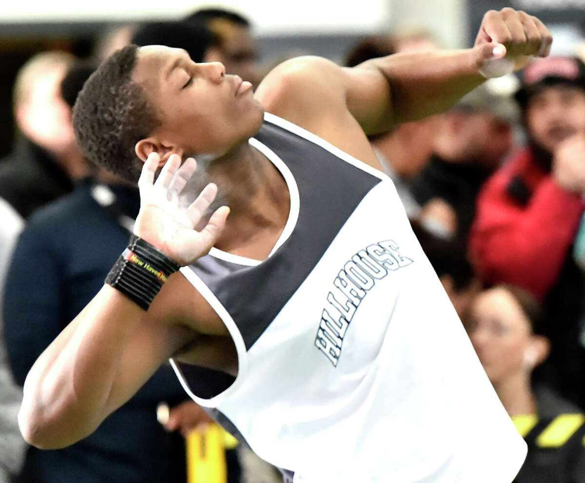 Hillhouse's Gary Moore, Jr. won in the shot put at the Class L track championship on Saturday.