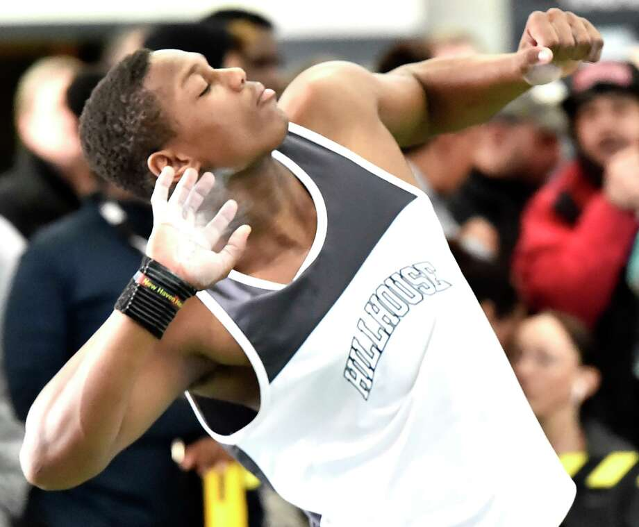 Hillhouse's Gary Moore, Jr. won in the shot put at the Class L track championship on Saturday. Photo: Peter Hvizdak / Hearst Connecticut Media / New Haven Register