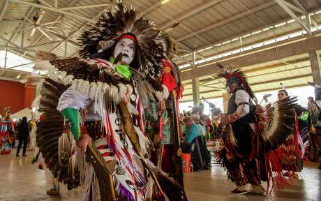 Harley Tallchief a member of the Seneca Nation, participates in the 21st annual United San Antonio Pow Wow at Mission County Park on Saturday, Feb. 15, 2020.