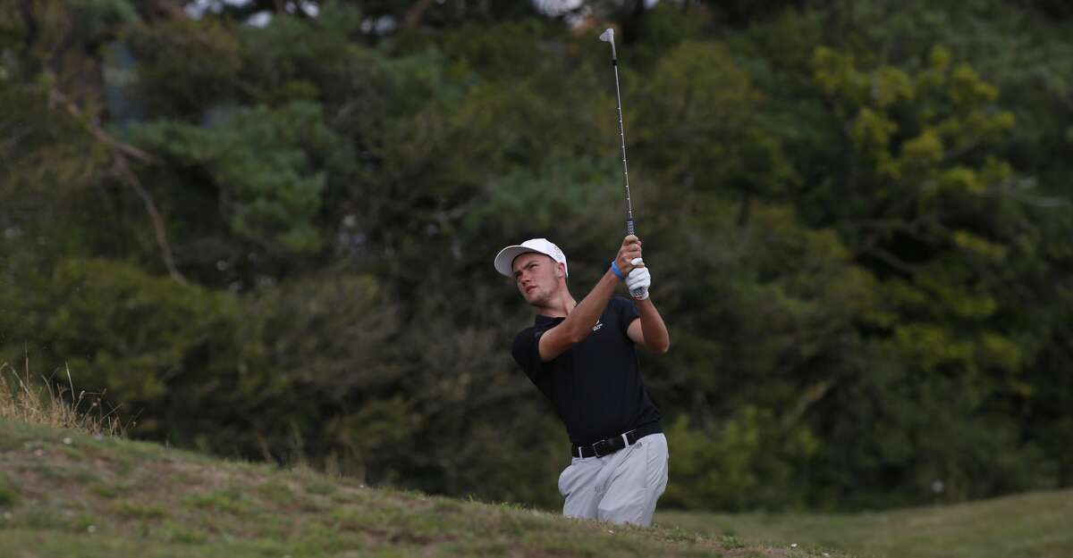 BURRY PORT, WALES - AUGUST 08: Joseph Pagdin of England in action during the afternoon singles of The Boys Home Internationals at Ashburnham Golf Club on August 8, 2019 in Burry Port, Wales. (Photo by Julian Herbert/R&A/R&A via Getty Images)