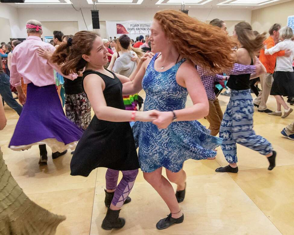 Cricket and Una Liebermann, of Vermont, dance during the 33rd Annual Flurry Festival at the Saratoga Spring City Center in Saratoga NY on Saturday, Feb. 15, 2020 (Jim Franco/Special to the Times Union.)