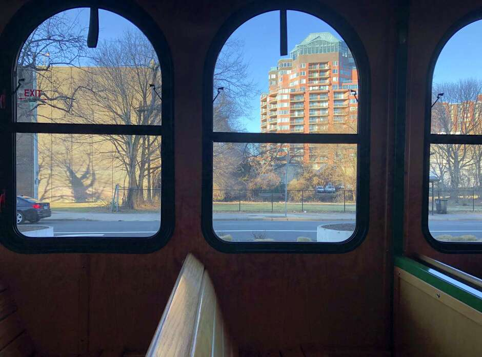 Aboard the Stamford downtown trolley.