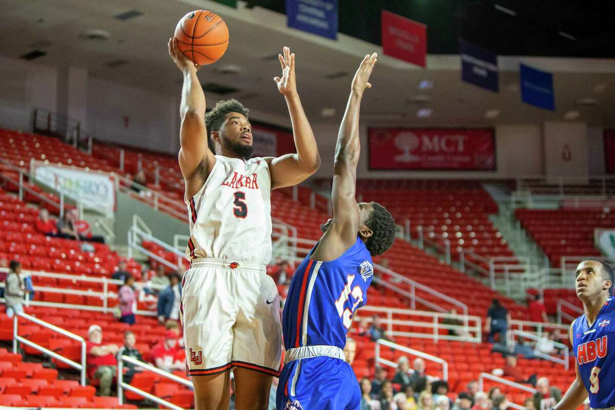 Lamar's Avery Sullivan rises up for a shot over an HBU defender during a win for the Cardinals on Saturday afternoon. Photo provided by Lamar athletics.