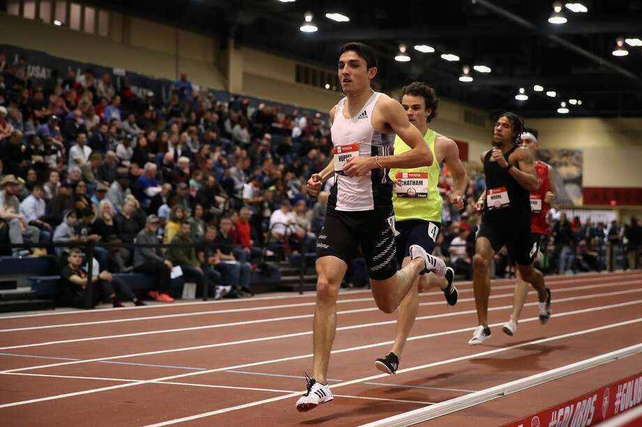 Bryce Hoppel competes in the Men's 800 M during the 2020 Toyota USATF Indoor Championships at Albuquerque Convention Center on February 14, 2020 in Albuquerque, New Mexico. (Photo by Christian Petersen/Getty Images) Photo: Photo By Christian Petersen/Getty Images