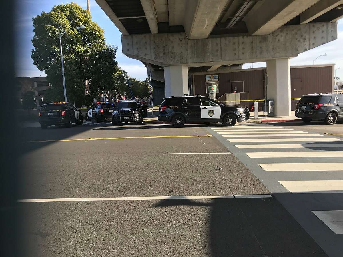 BART police vehicles and caution tape block pedestrian and vehicle traffic at the�El Cerrito del Norte BART station�on Saturday, Feb. 15, 2020.�A BART police officer shot and wounded a person at at El Cerrito del Norte BART station on Saturday afternoon, according to BART officials.