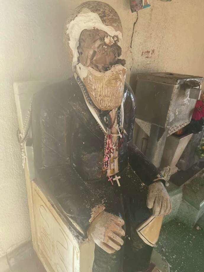Photos show damage at the Don Pedro Jaramillo Shrine, located off FM 1418 in Falfurrias. Photo: City Of Falfurrias Facebook