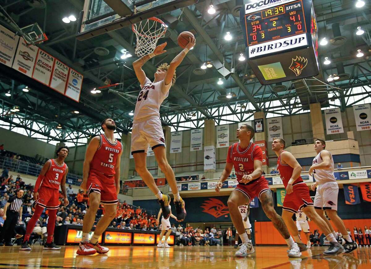 UTSA center Jacob Germany scores in the first half at UTSA Convocation Center on Saturday, February, 15, 2020. Western Kentucky Hilltoppers defeated UTSA in OT 77-73.