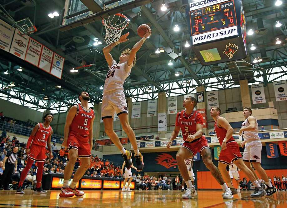 UTSA center Jacob Germany scores in the first half at UTSA Convocation Center on Saturday, February, 15, 2020. Western Kentucky Hilltoppers defeated UTSA in OT 77-73. Photo: Ronald Cortes/Contributor / 2020 Ronald Cortes