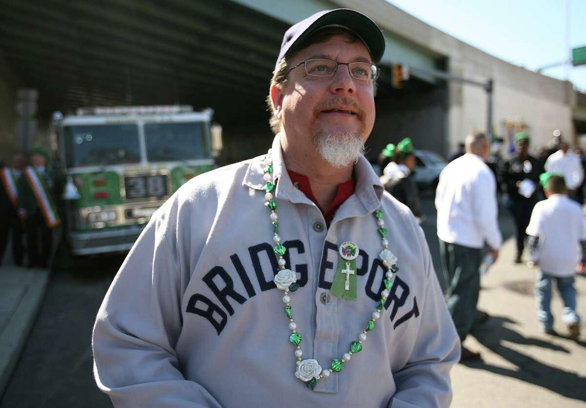 Michael Bielawa, an author, historian, Bridgeport librarian, wears his Bridgeport Orators uniform while marching in Bridgeport's St. Patrick's Day Parade.