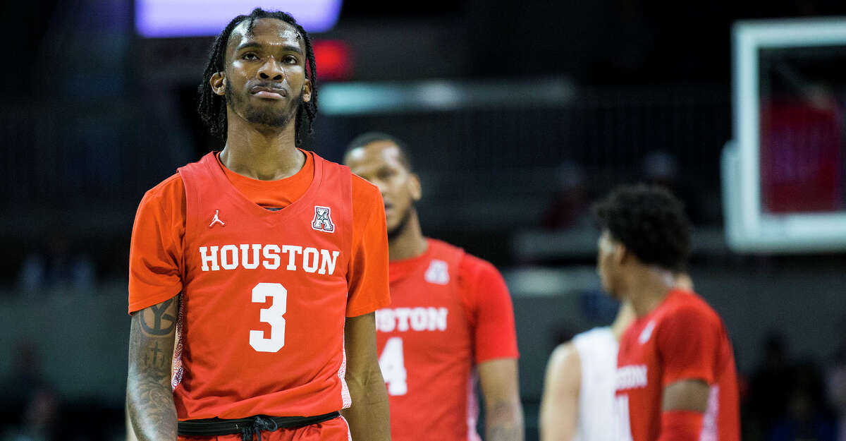 Houston's DeJon Jarreau (3) shows frustration during the first half against Southern Methodist on Saturday, Feb. 15, 2020, at Moody Coliseum in Dallas. (Ashley Landis/Dallas Morning News/TNS)