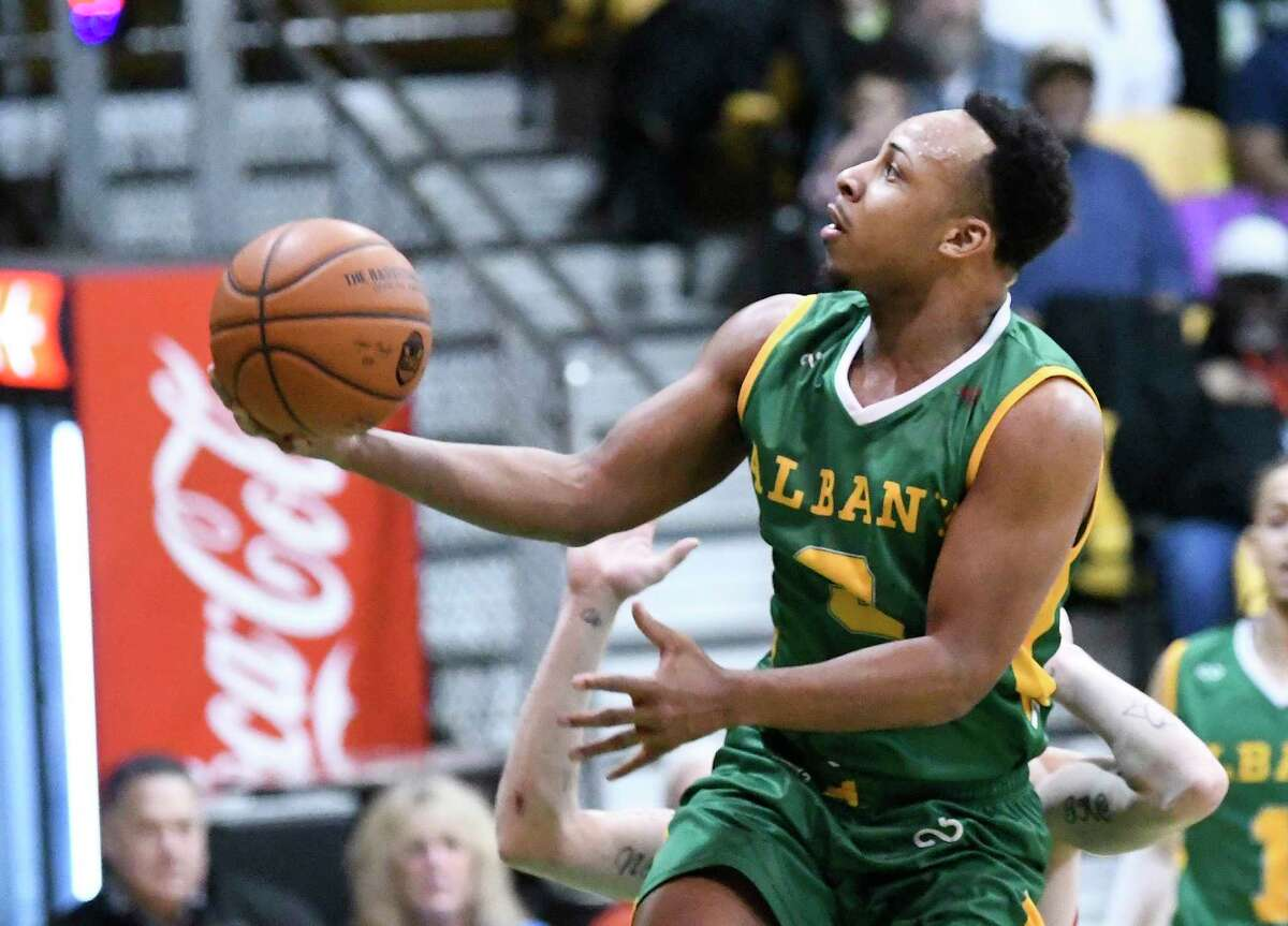 Albany Patroons?• Shadell Millinghaus (3) scores against the Columbus Condors during the first half of a The Basketball League basketball game Saturday, Feb.15, 2020, in Albany, N.Y.