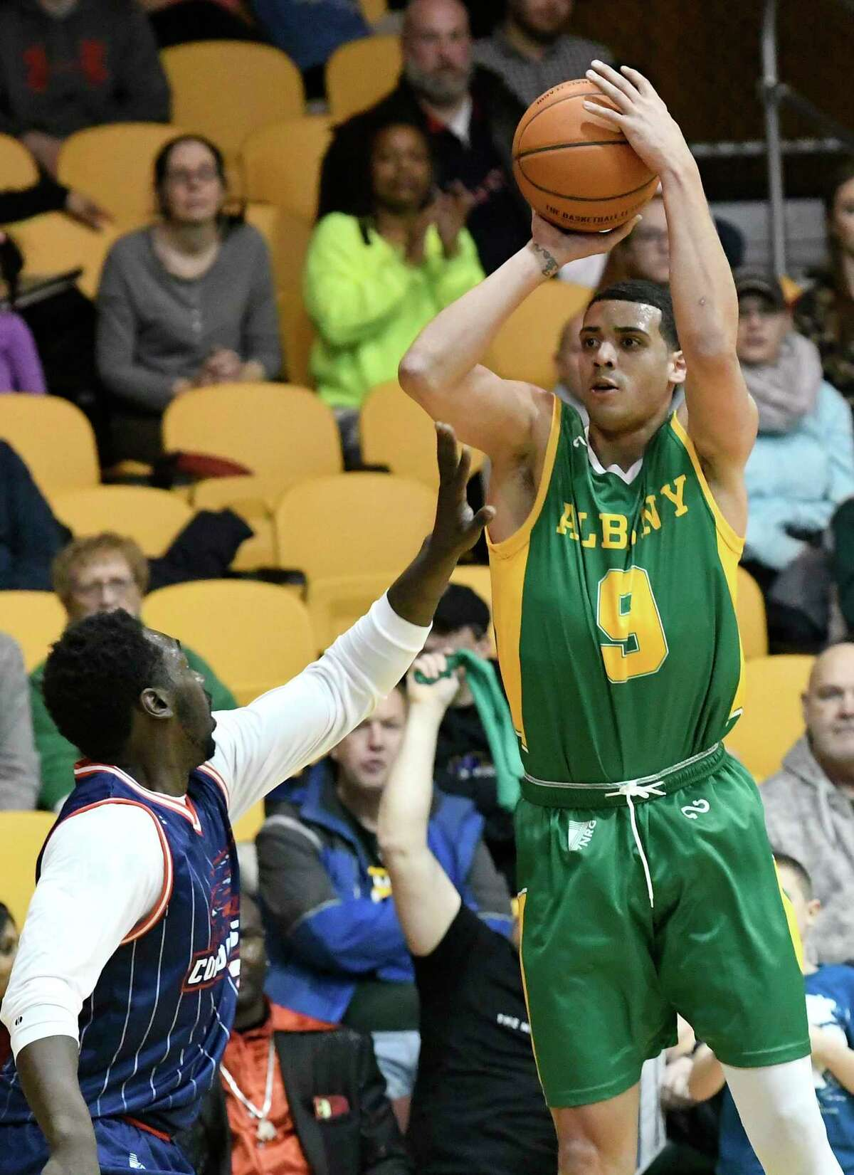 Albany Patroons?• Kwinten Willims (9) scores against the Columbus Condors during the first half of a The Basketball League basketball game Saturday, Feb.15, 2020, in Albany, N.Y.