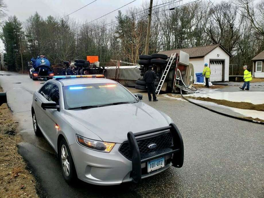 Units on scene for a milk tanker spill on Tuesday, Feb. 11, 2020, in Griswold, Conn. Photo: Contributed Photo / Connecticut State Police