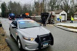 Units on scene for a milk tanker spill on Tuesday, Feb. 11, 2020, in Griswold, Conn.
