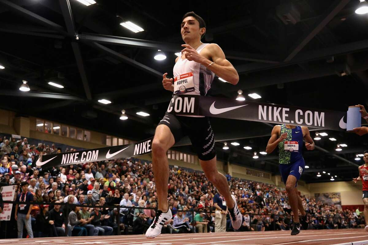 Bryce Hoppel crosses the finish line to win the Men's 800 Meter final during the 2020 Toyota USATF Indoor Championships at Albuquerque Convention Center on February 15, 2020 in Albuquerque, New Mexico. (Photo by Christian Petersen/Getty Images)
