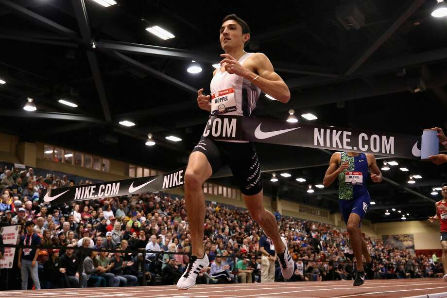 Bryce Hoppel crosses the finish line to win the Men's 800 Meter final during the 2020 Toyota USATF Indoor Championships at Albuquerque Convention Center on February 15, 2020 in Albuquerque, New Mexico. (Photo by Christian Petersen/Getty Images) Photo: Photo By Christian Petersen/Getty Images