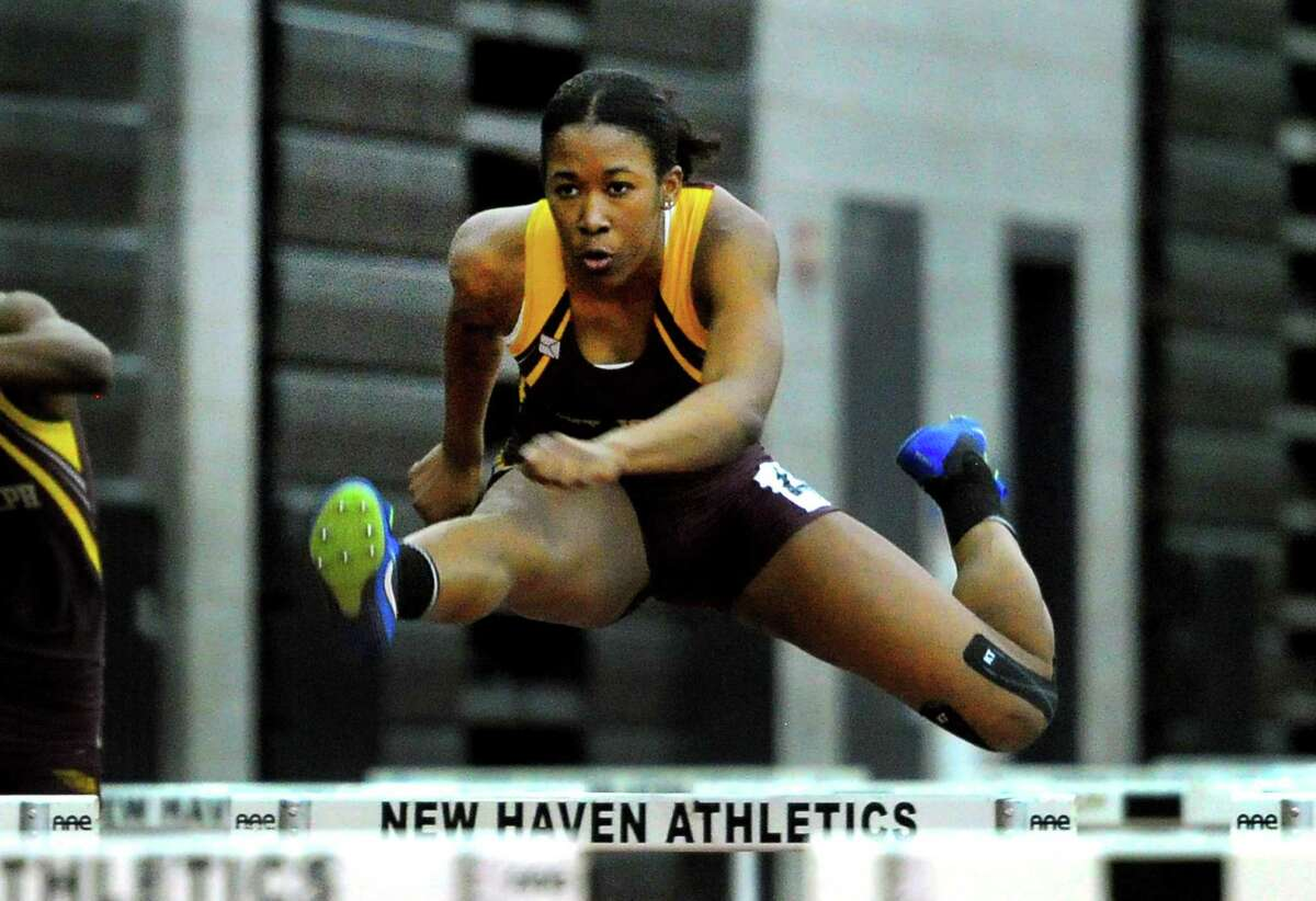 St. Joseph senior Kayla Clark competes in the 55 meter hurdles final during CIAC Class M Track & Field Championship action in New Haven, Conn., on Saturday Feb. 15, 2020.