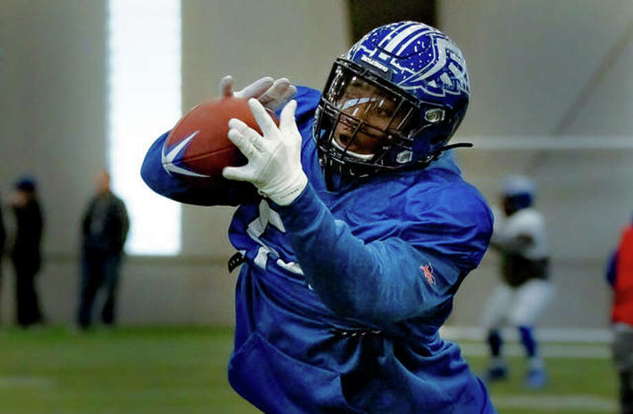 St. Louis BattleHawks defensive lineman Dewayne Hendrix, of O'Fallon, practices short-pass blocks and interceptions during drills this week at Lou Fusz Athletic Training Center in Earth City, Missouri. Photo: Nathan Woodside | The Telegraph