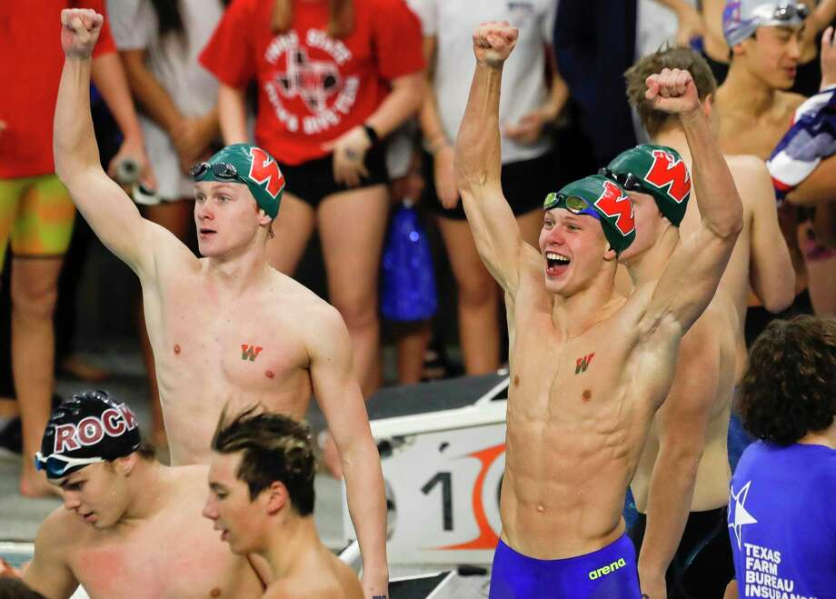 The Woodlands reacts after winning the 6A boys 200-yard medley relay during the UIL State Swimming & Diving Championships at the Lee & Joe Jamail Texas Swimming Center, Saturday, Feb. 15, 2020, in Austin. Photo: Jason Fochtman, Houston Chronicle / Staff Photographer / Houston Chronicle © 2020