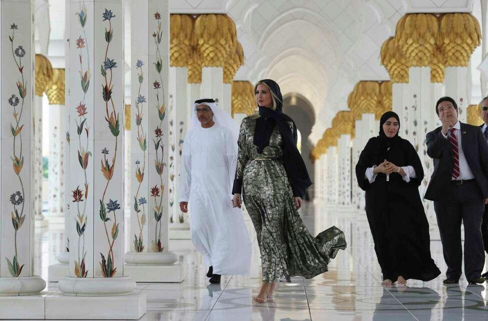 Ivanka Trump, the daughter and senior adviser to U.S. President Donald Trump visits the Sheikh Zayed Grand Mosque in Abu Dhabi, United Arab Emirates, Saturday, Feb. 15, 2020. Ivanka Trump will deliver keynote address at Global Women's Forum in Dubai tomorrow. (AP Photo/Kamran Jebreili)