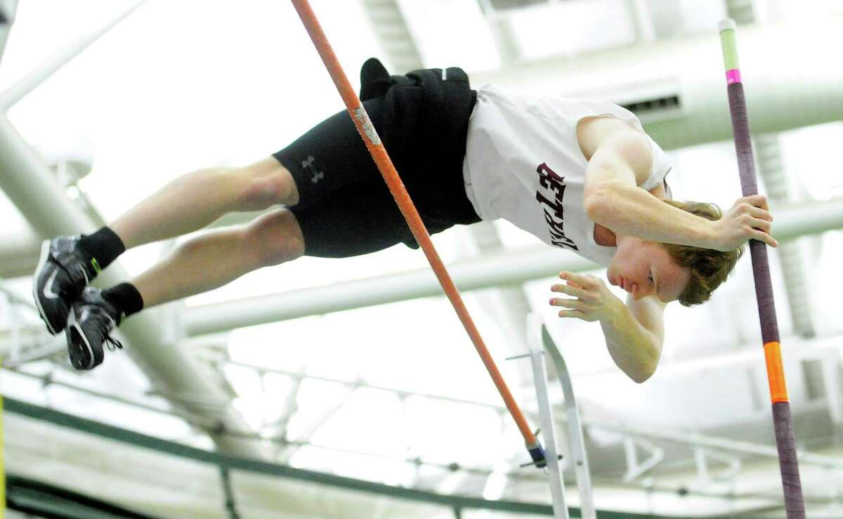 Bethel's Connor Nordmann competes in the pole vault during CIAC Class M Track & Field Championship action in New Haven, Conn., on Saturday Feb. 15, 2020.