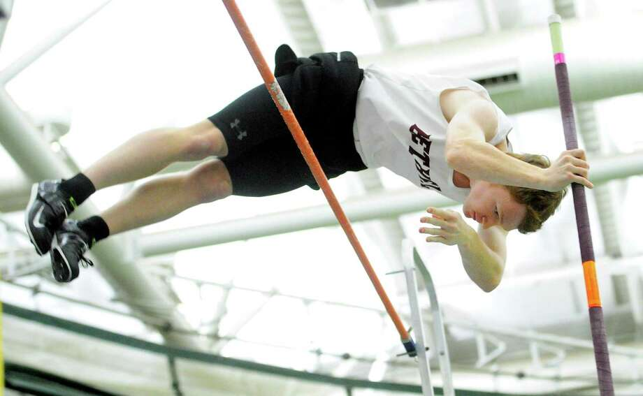Bethel's Connor Nordmann competes in the pole vault during CIAC Class M Track & Field Championship action in New Haven, Conn., on Saturday Feb. 15, 2020. Photo: Christian Abraham / Hearst Connecticut Media / Connecticut Post