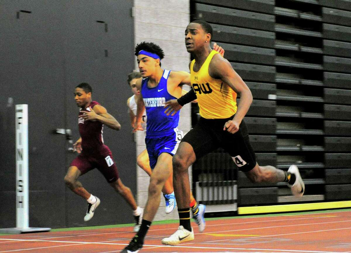 Law's Rayshon Jacobs finishes first in the 55 meter dash final during the Class M championship earlier this month.