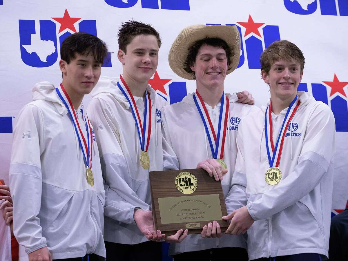 Austin, TX; Alamo Heights win the boys 200-yards medley champioship at the Class 5A UIL State Swimming Meet on Saturday, Feb 15, 2020, at the Lee and Joe Jamail Texas Swimming Center. [John Gutierrez/for SA Express-News]