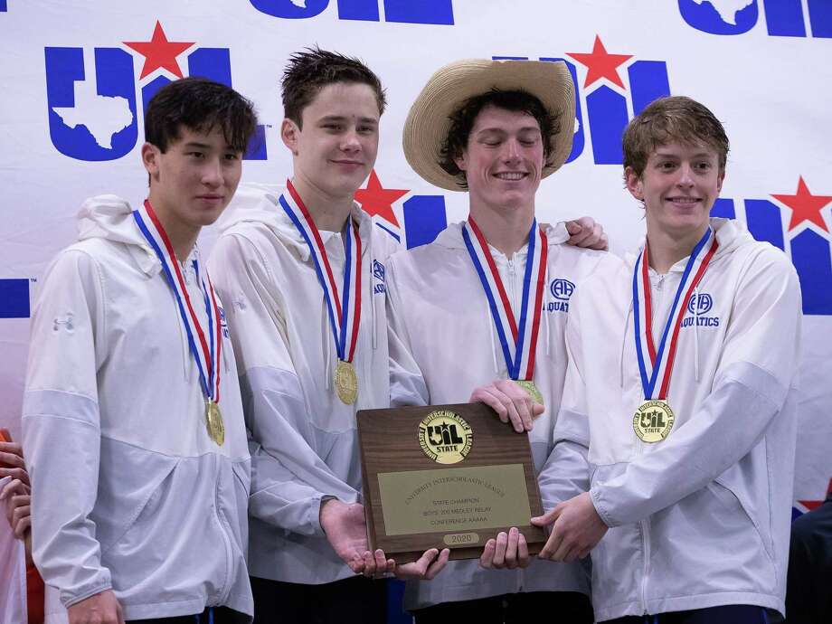 Austin, TX; Alamo Heights win the boys 200-yards medley champioship at the Class 5A UIL State Swimming Meet on Saturday, Feb 15, 2020, at the Lee and Joe Jamail Texas Swimming Center. [John Gutierrez/for SA Express-News] Photo: John Gutierrez, Photographer / John Gutierrez / John Gutierrez