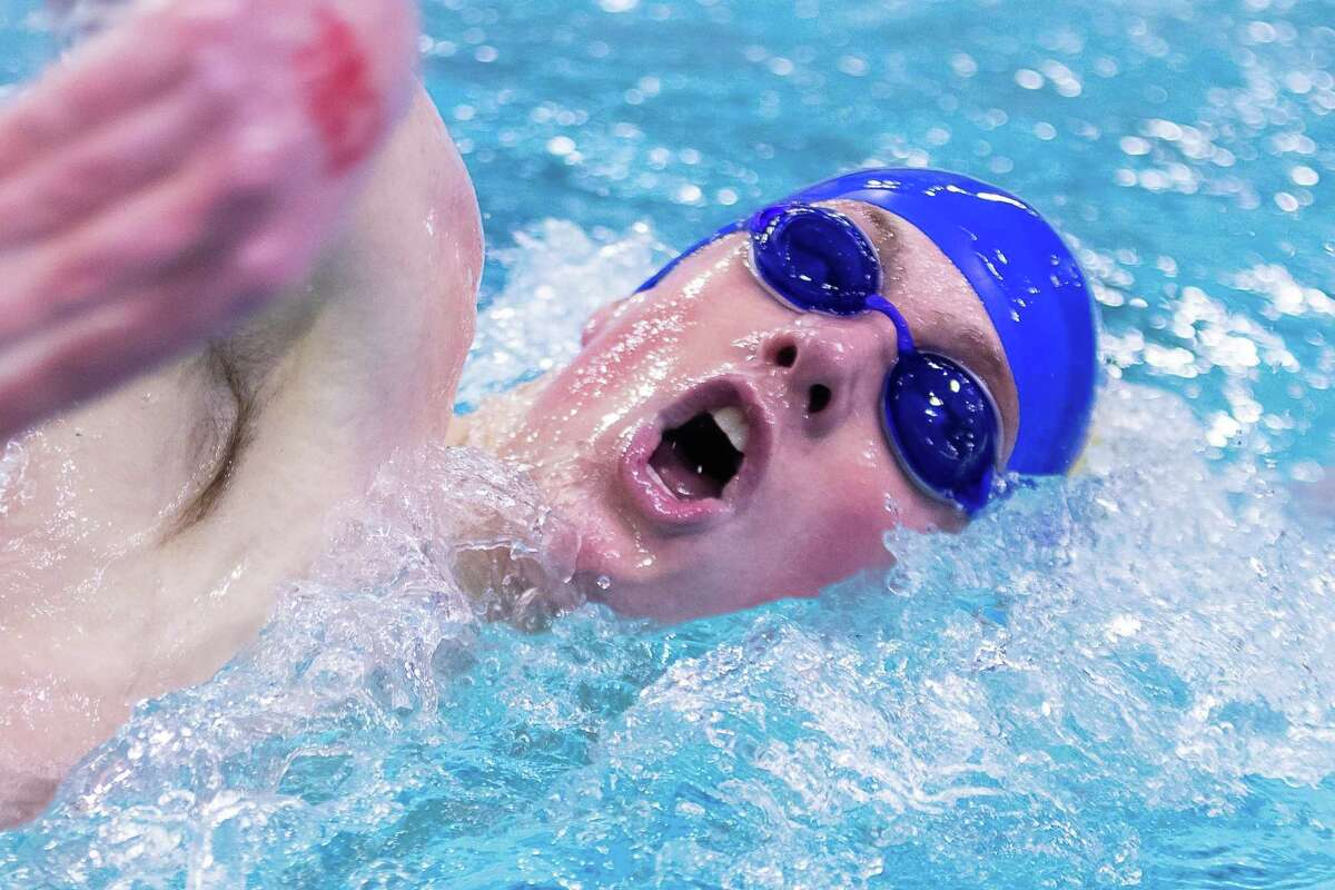 Austin, TX; Alamo Heights McCoy Patterson competes in the boys 500-yard freestyle at the Class 5A UIL State Swimming Meet on Saturday, Feb 15, 2020, at the Lee and Joe Jamail Texas Swimming Center. [John Gutierrez/for SA Express-News]