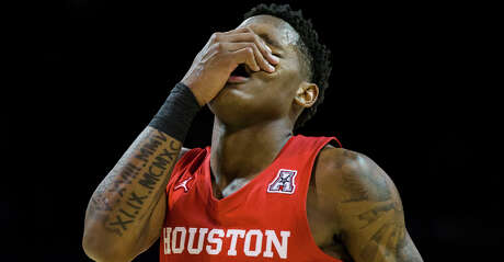 Houston's Marcus Sasser reacts to a penalty during the second half against Southern Methodist on Saturday, Feb. 15, 2020, at Moody Coliseum in Dallas. SMU won, 73-72. (Ashley Landis/Dallas Morning News/TNS)
