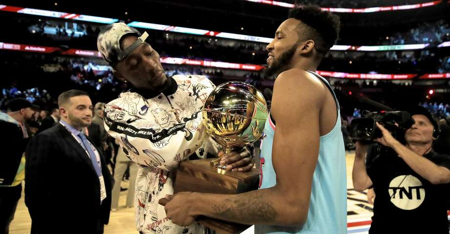CHICAGO, ILLINOIS - FEBRUARY 15: Bam Adebayo and Derrick Jones Jr. #5 of the Miami Heat celebrate after Jones Jr. won the 2020 NBA All-Star - AT&T Slam Dunk Contest during State Farm All-Star Saturday Night at the United Center on February 15, 2020 in Chicago, Illinois. NOTE TO USER: User expressly acknowledges and agrees that, by downloading and or using this photograph, User is consenting to the terms and conditions of the Getty Images License Agreement. (Photo by Jonathan Daniel/Getty Images) Photo: Jonathan Daniel/Getty Images