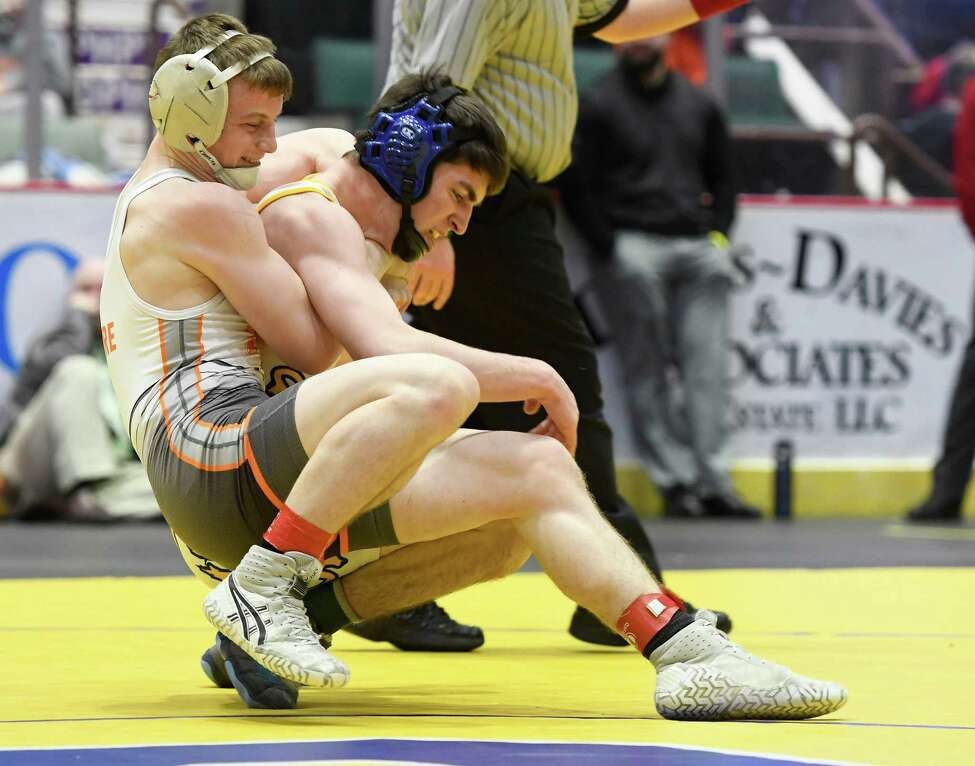 Mohonasen's Jake DeGuire wrestles Queensbury's Trevor Robbins during the 138-lb. weight class final of the Section II wrestling championships on Saturday, Feb. 15, 2020, at Cool Insuring Arena in Glens Falls. (Jenn March, Special to the Times Union)