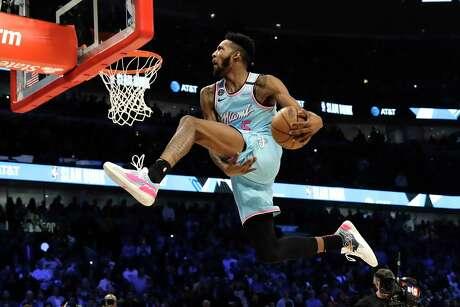 Miami's Derrick Jones Jr. soars during the NBA All-Star slam dunk contest.