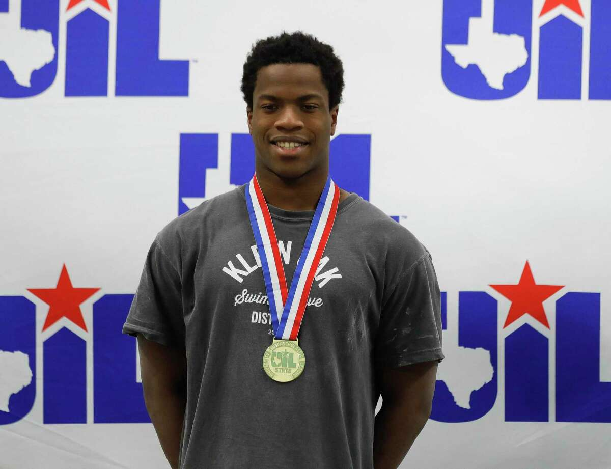 David Oderinde of Klein Oak took first in the 6A boys 50-yard freestyle during the UIL State Swimming & Diving Championships at the Lee & Joe Jamail Texas Swimming Center, Saturday, Feb. 15, 2020, in Austin.