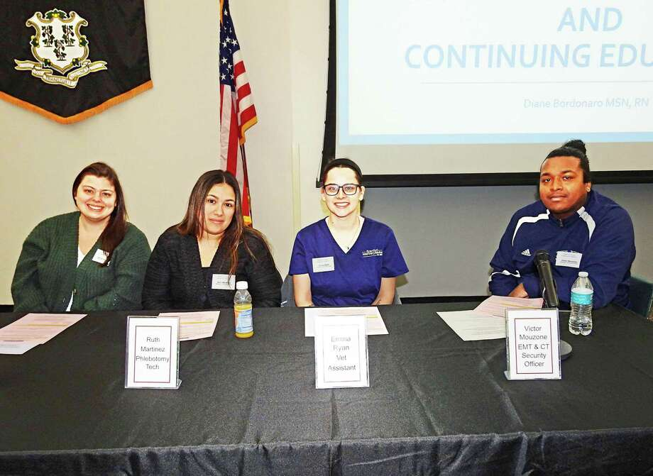 From left are certified nurse's aide Adrianna Maffucci, phlebotomy tech Ruth Martinez, vet assistant Emma Ryan, EMT and Connecticut security officer Victor Mouzone. These comprised the Graduates & Success Stories Panel of the Middlesex County Chamber of Commerce's Business & Education Partnership Advisory Council. Photo: Bill De Kine Photo