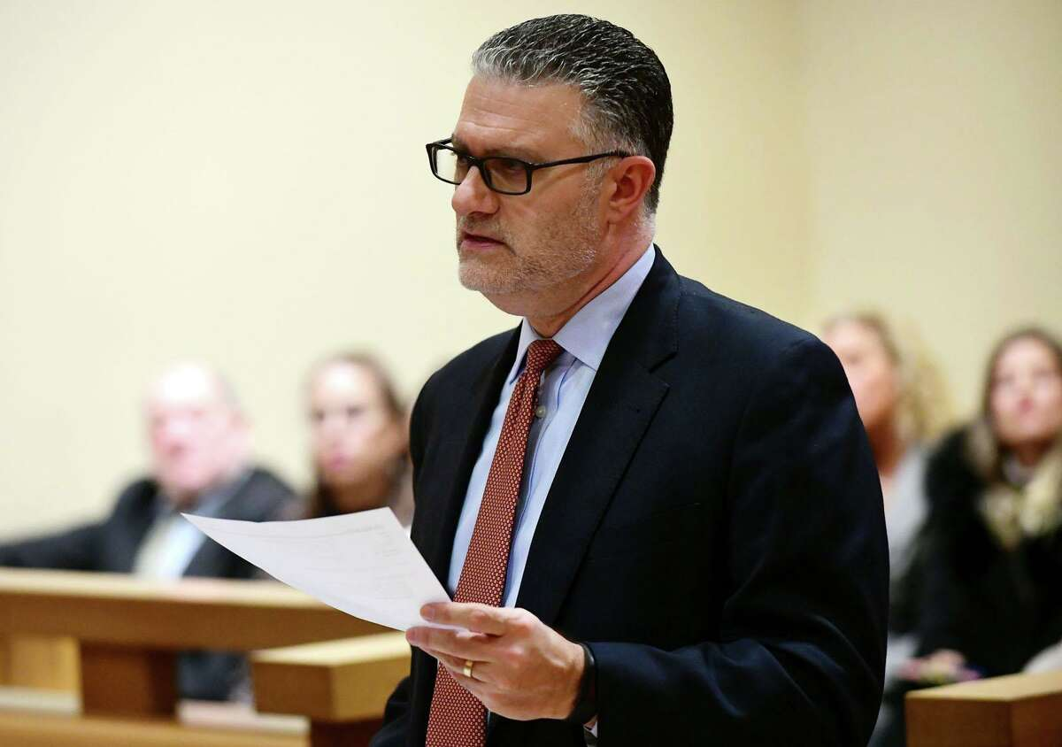 State's Attorney Richard J. Colangelo Jr. argues the case against Michelle Troconis, who is charged with conspiracy to commit murder in the disappearance of Jennifer Dulos, in a pre-trial hearing Friday, February 6, 2020, at the Stamford Superior Court in Stamford, Conn.