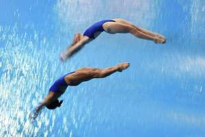 MADRID, SPAIN - FEBRUARY 16:  Kassidy Cook and Sarah Bacon of United States dive in the Women 3m Synchro Final during the XXVI FINA Diving Grand Prix on February 16, 2020 in Madrid, Spain.