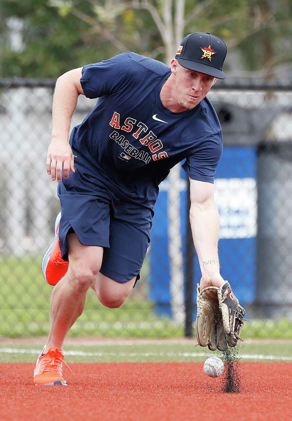 Houston Astros outfielder Myles Straw takes grounders during the Houston Astros spring training workouts at the Fitteam Ballpark of The Palm Beaches, in West Palm Beach , Sunday, Feb. 16, 2020.