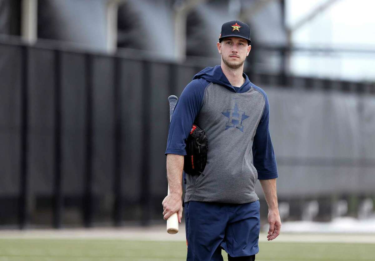 Houston Astros outfielder Kyle Tucker (30) walks out of the batting cages during the Houston Astros spring training workouts at the Fitteam Ballpark of The Palm Beaches, in West Palm Beach , Sunday, Feb. 16, 2020.